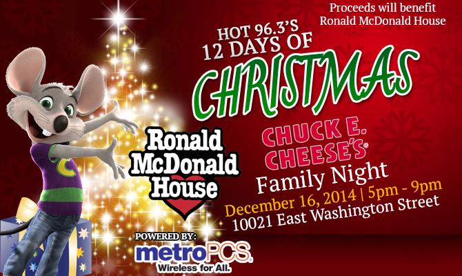 Chuck E Cheese Christmas.12 Days Chuck E Cheese Family Night Hot 96 3
