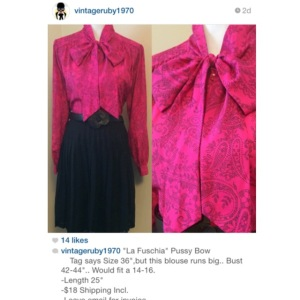 """La Fuschia"" PussyBow blouse sold by @VintageRUby1970"