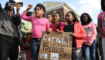 kids at Freddie Gray rally