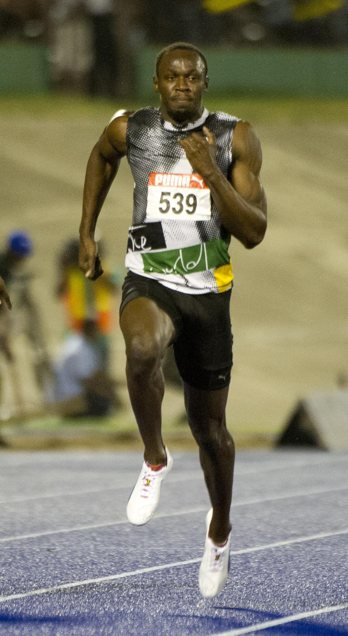 Jamaican sprinter Usain Bolt runs during