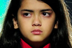 A tearful Blanket Jackson, son of michae