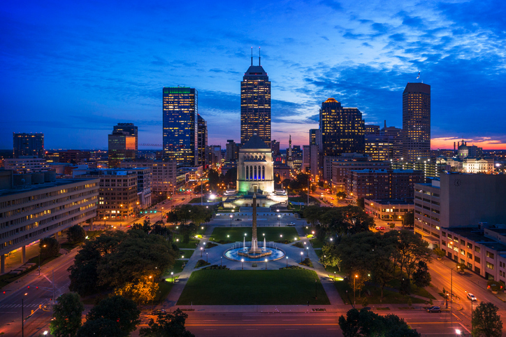 Indianapolis Skyline and Park Aerial at Dusk