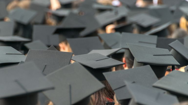 Students Wearing Mortarboards In City