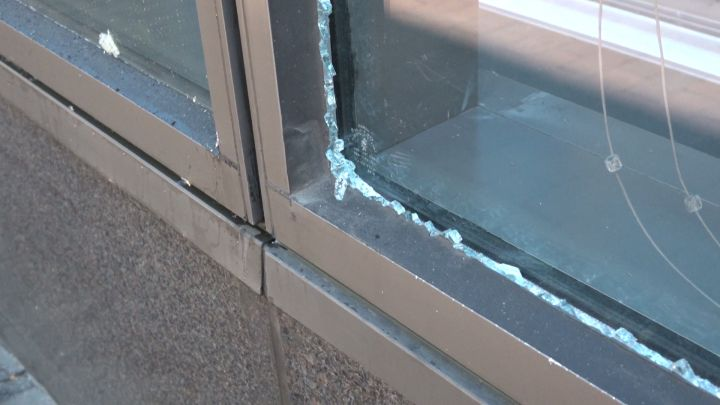 Window of business after protests in Downtown Indianapolis
